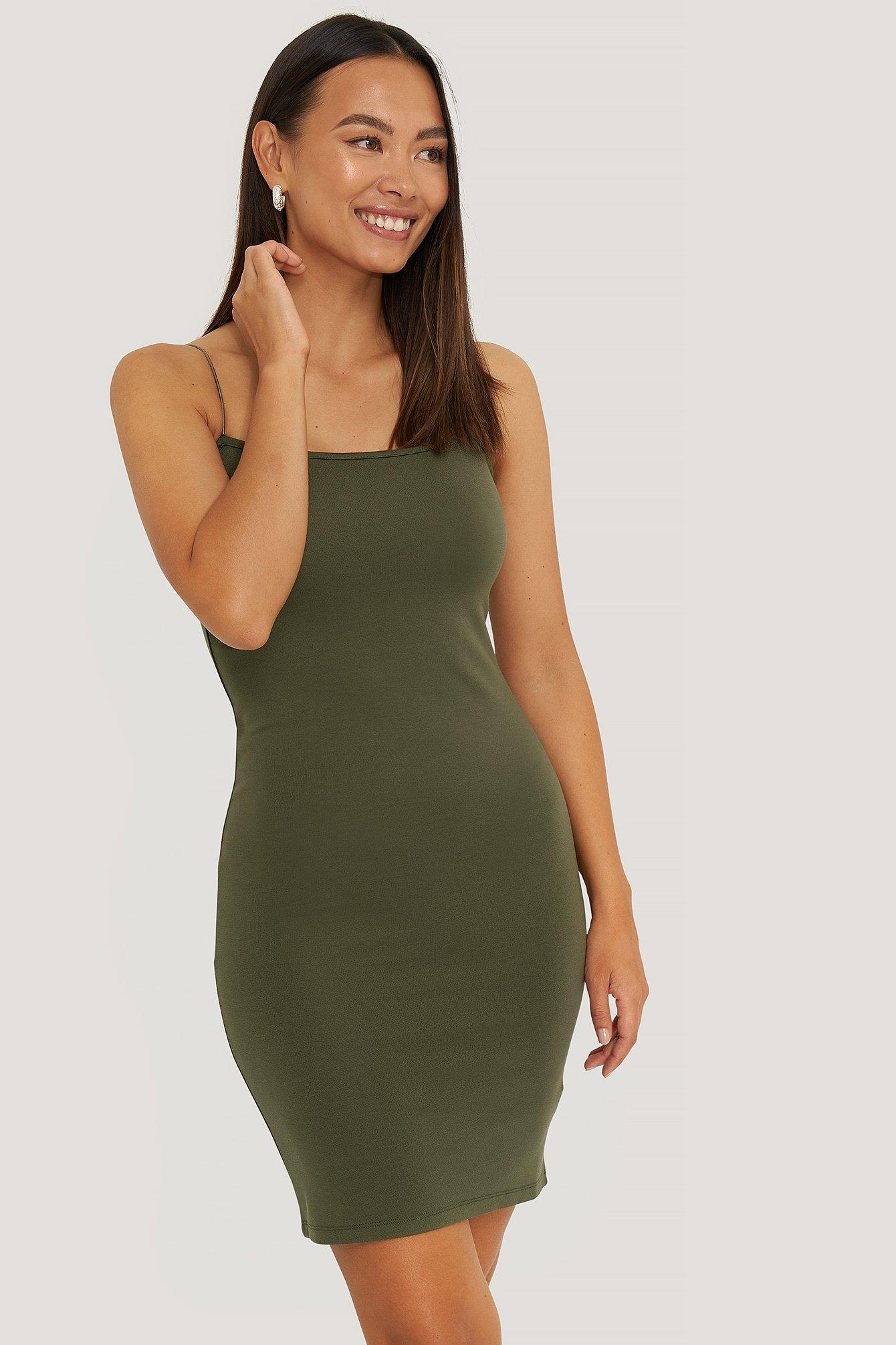 NA-KD Spaghetti Strap Dress - Green