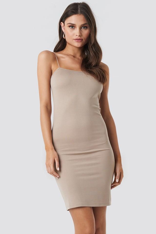 Sukienka na cienkich ramiączkach Dark Beige