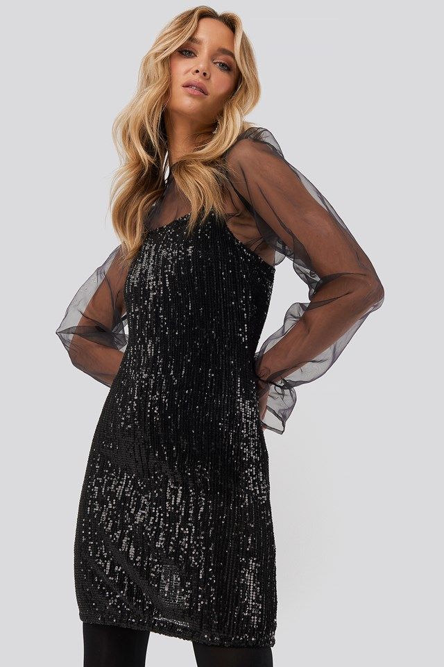 Spaghetti Strap Sequin Dress Black
