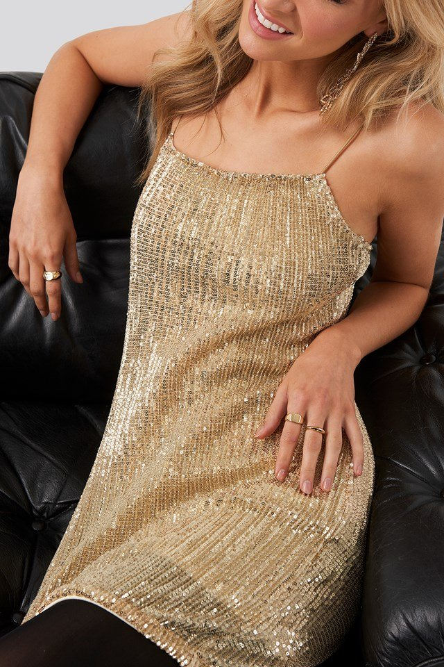 Spaghetti Strap Sequin Dress Gold