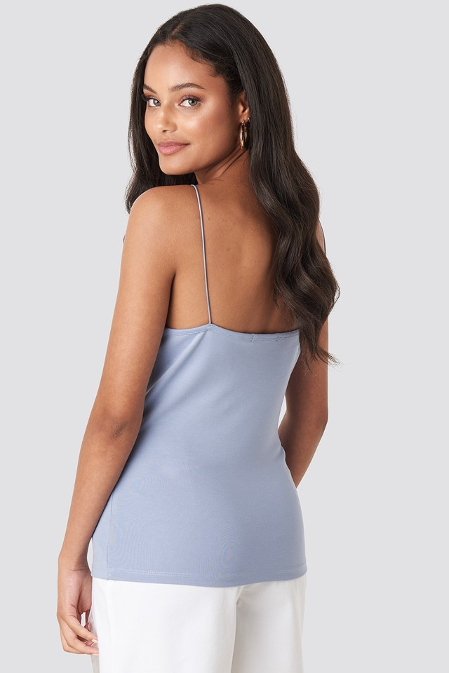 Spaghetti V-neck strap Singlet Dusty Light blue