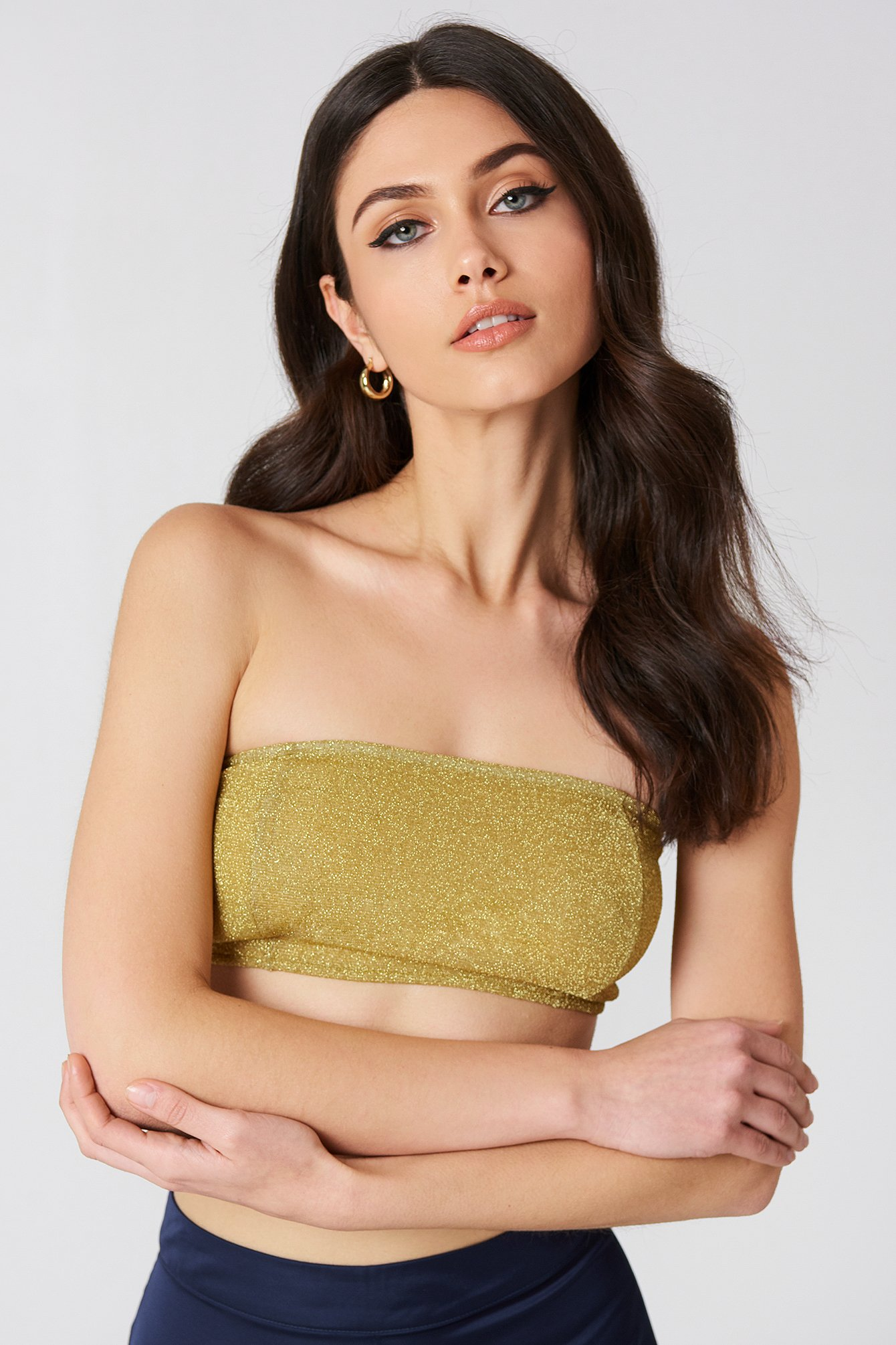 na-kd party -  Sparkle Bandeau Top - Gold