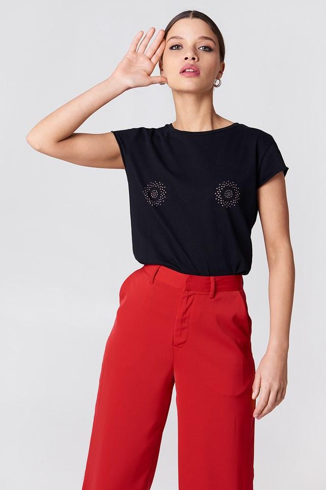 T-shirt z błyszczącym zdobieniem z przodu Black