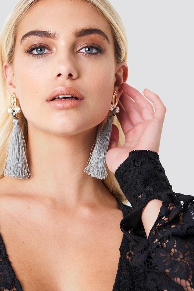 Sparkle Oval Tassel Earring NA-KD.COM