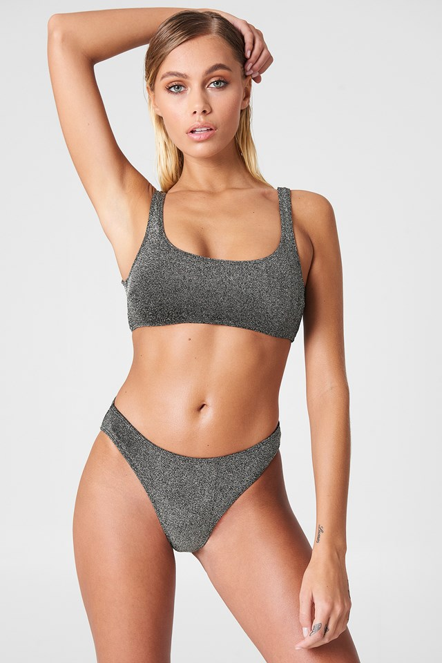 Sparkle Sporty Bikini Briefs Silver