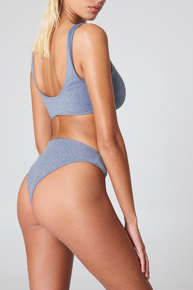 Sparkle Sporty Bikini Briefs Dusty Blue