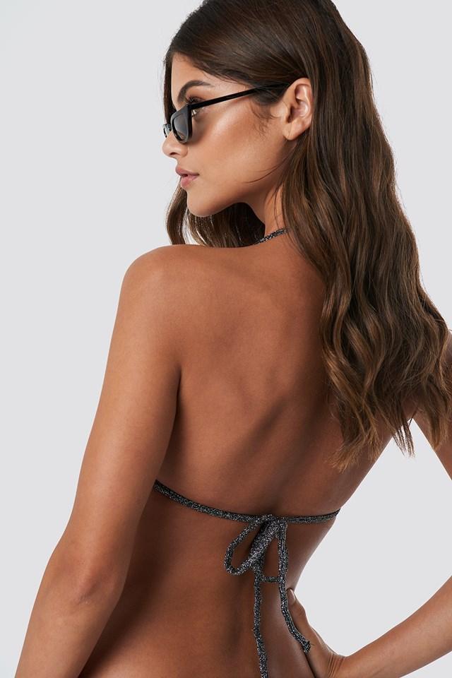 Sparkle Triangle Bikini Top Silver