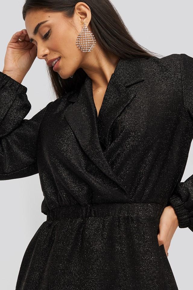 Sparkling Blazer Dress Black