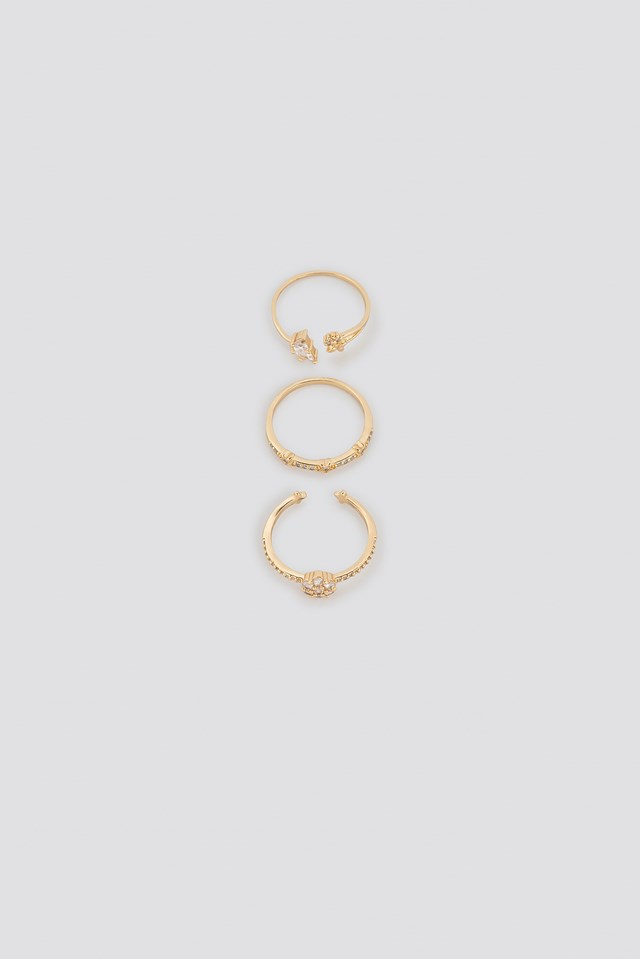Sparkling Blossom Multipack Rings NA-KD Accessories