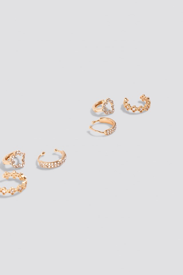 Sparkling Earrings And Cuff Set Gold