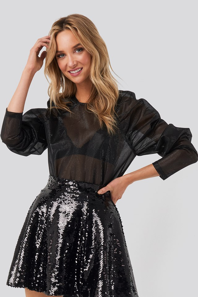 Sparkling Gathered Sleeve Blouse NA-KD Party