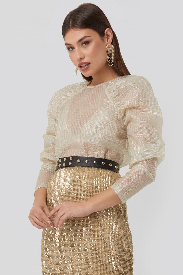 Sparkling Gathered Sleeve Blouse Gold