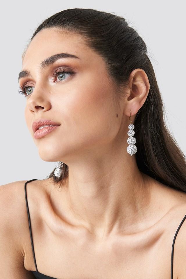 Sparkling Globe Drop Earrings Gold