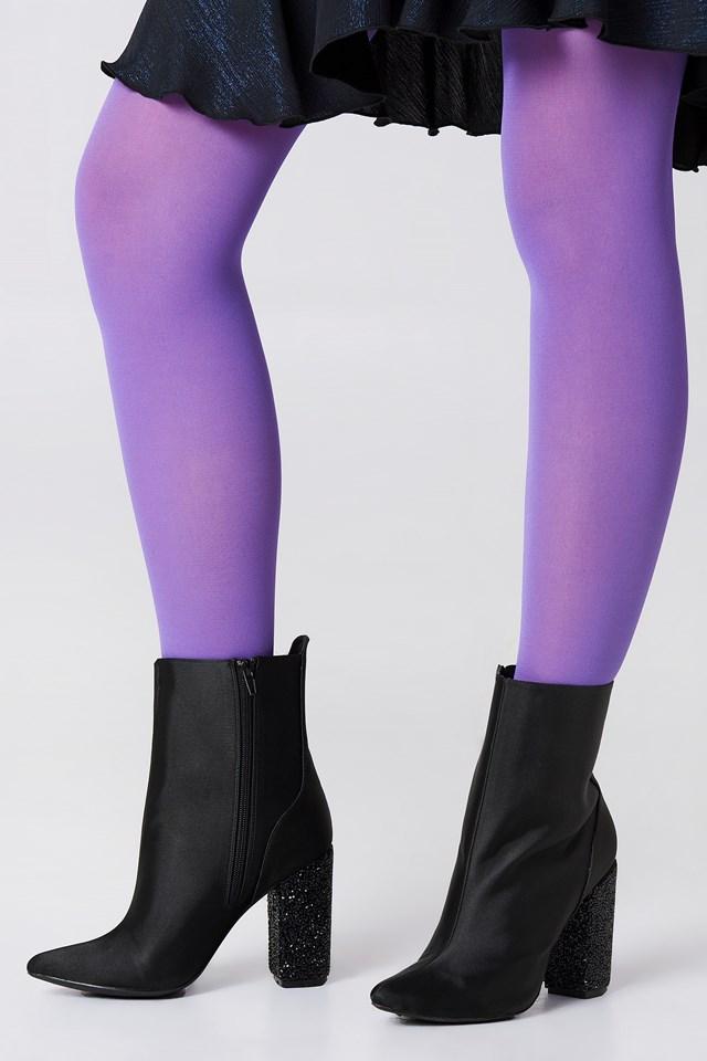 Sparkling Heel Ankle Boots Black