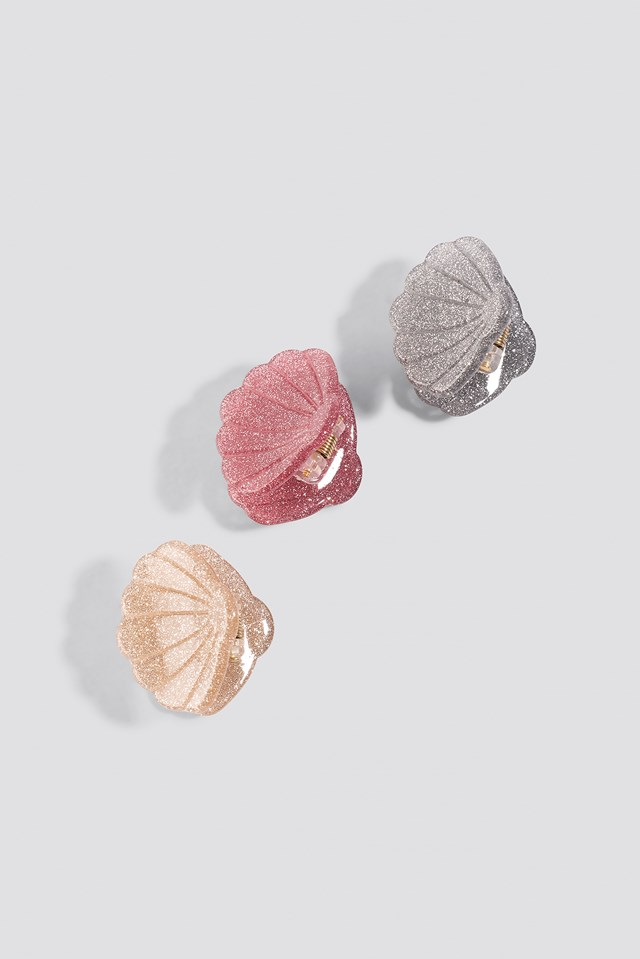 Sparkling Mini Shell Hair Clips (3-Pack) Mixed