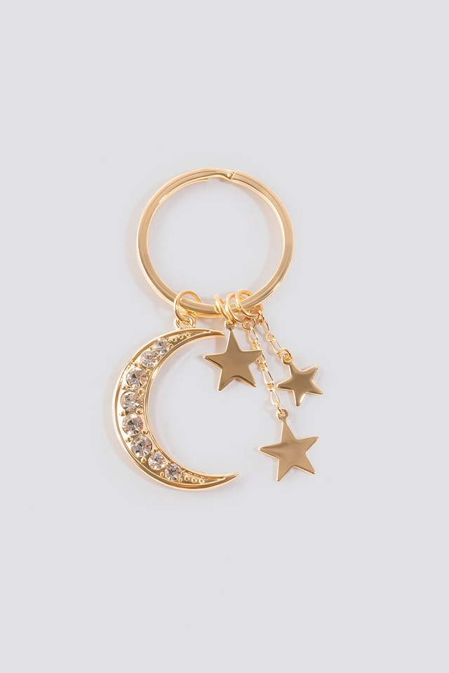 Sparkling Moon Key Chain Gold
