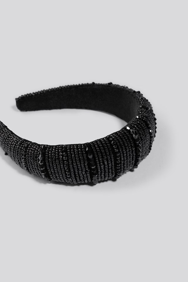 Sparkling Padded Head Band Black