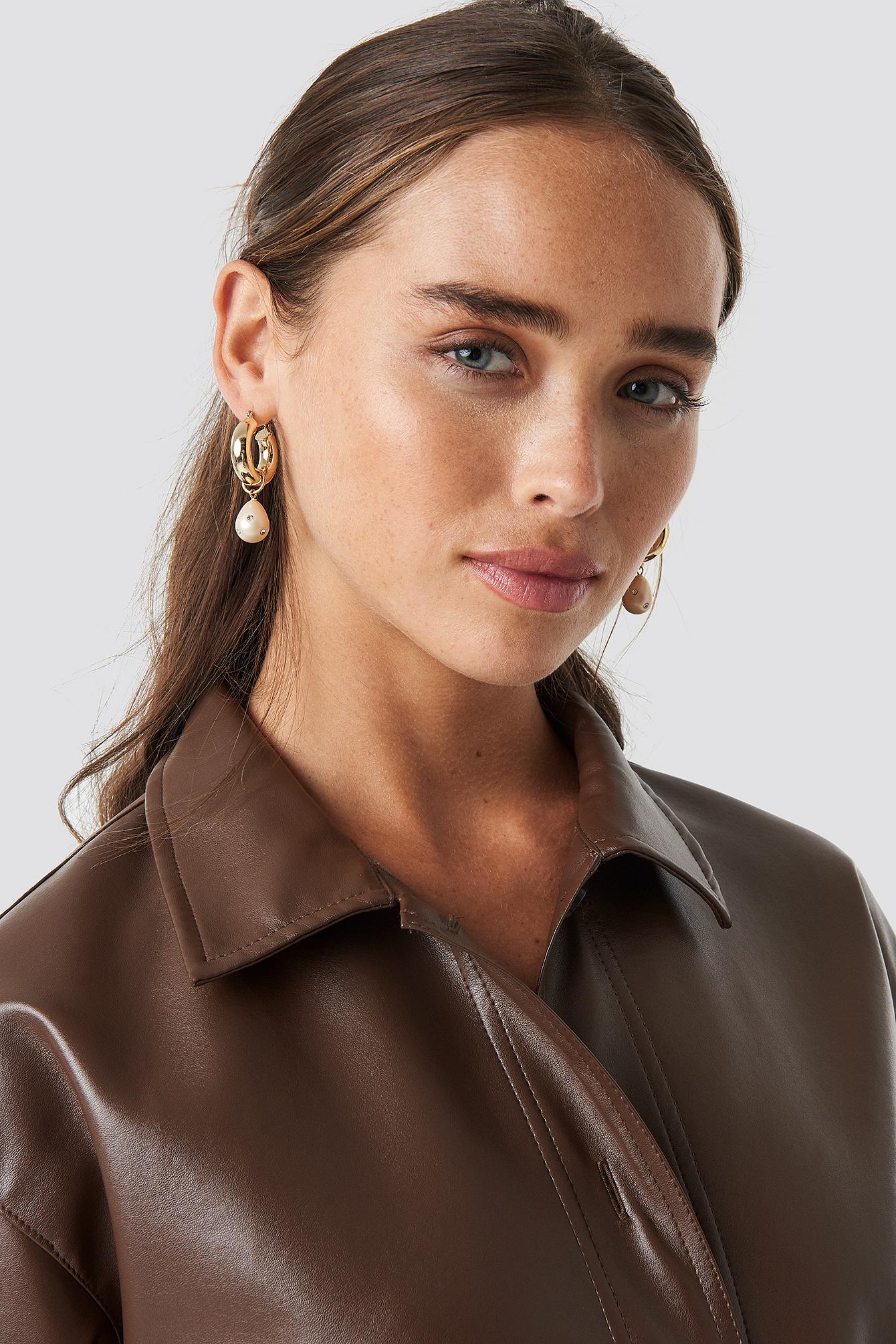 Sparkling Pearl Hoop Earrings NA-KD.COM