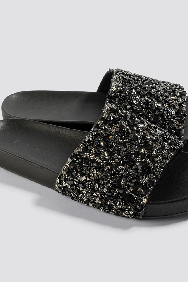 Sparkling Slippers Black