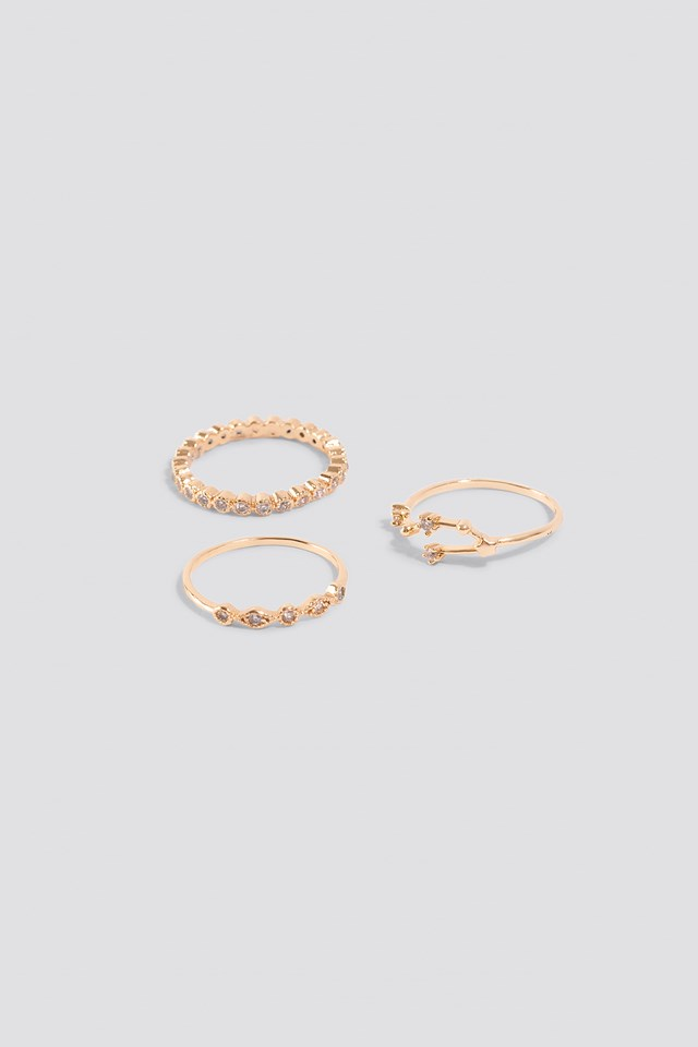 Sparkling Stacking Rings (3-pack) Gold
