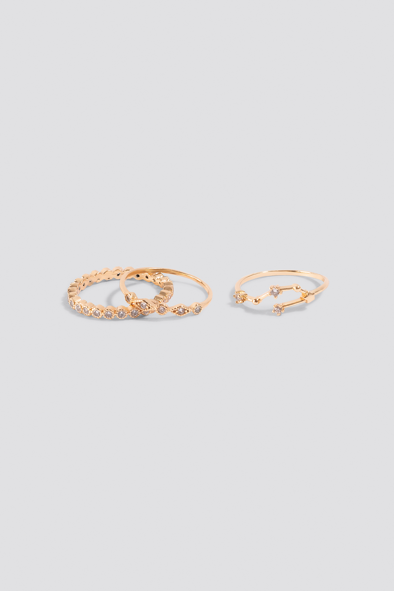 Gold Sparkling Stacking Rings (3-pack)
