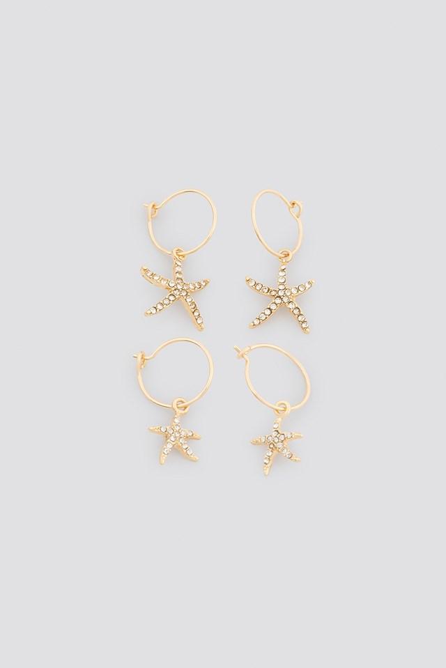 Sparkling Starfish Mini Hoops Gold