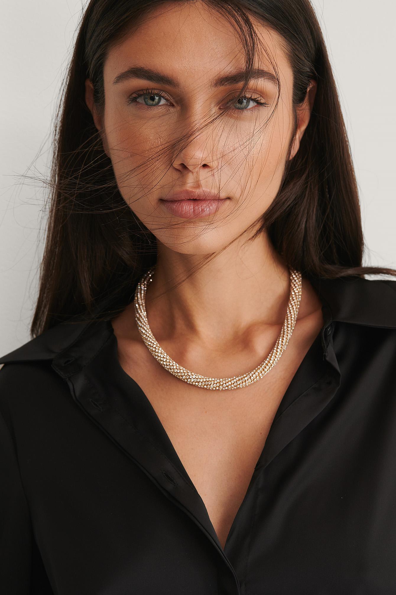 NA-KD Accessories Halskæde Med Sten - Gold