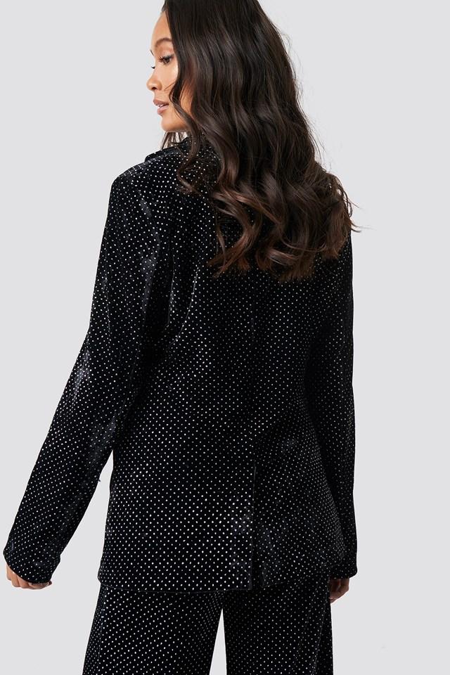 Sparkling Velvet Blazer Black
