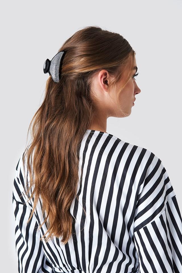 Sparkly Moon Hair Clip Black