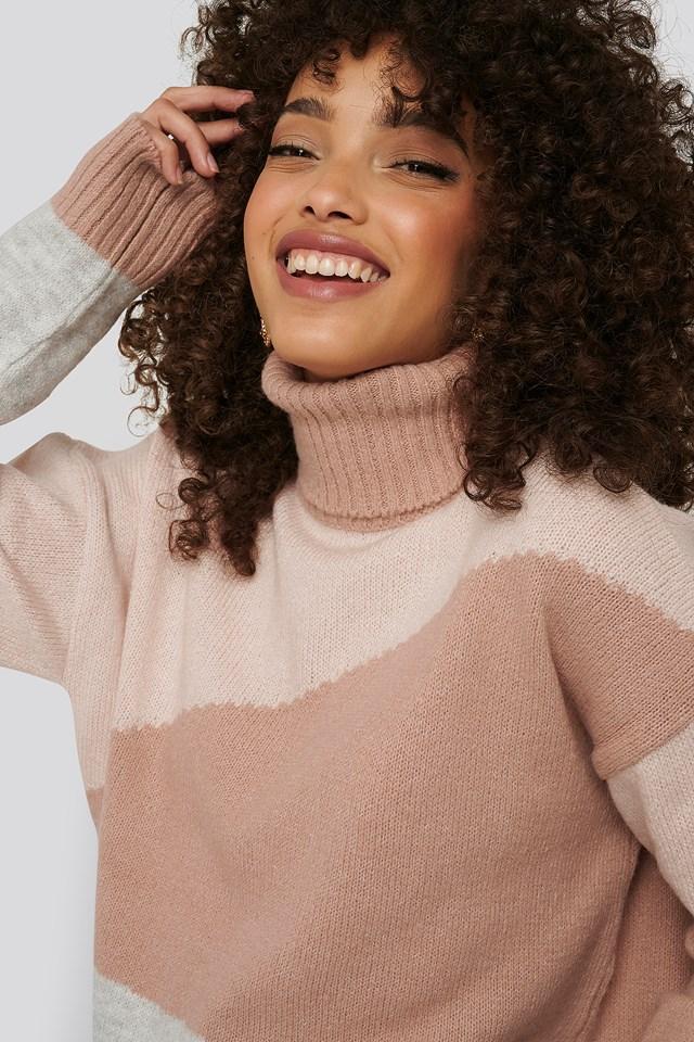 Split Colour Chunky Polo Sweater Light Pink