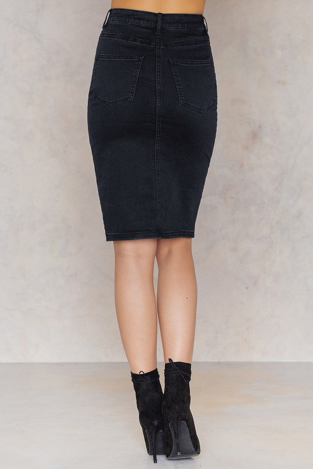 Split Front Denim Skirt NA-KD.COM