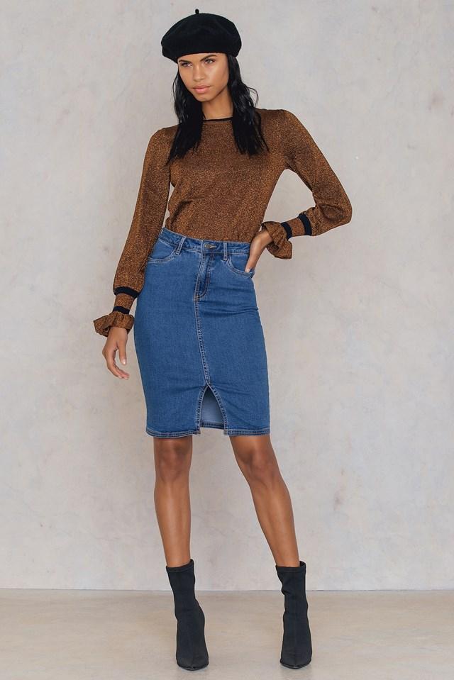 Split Front Denim Skirt Blue