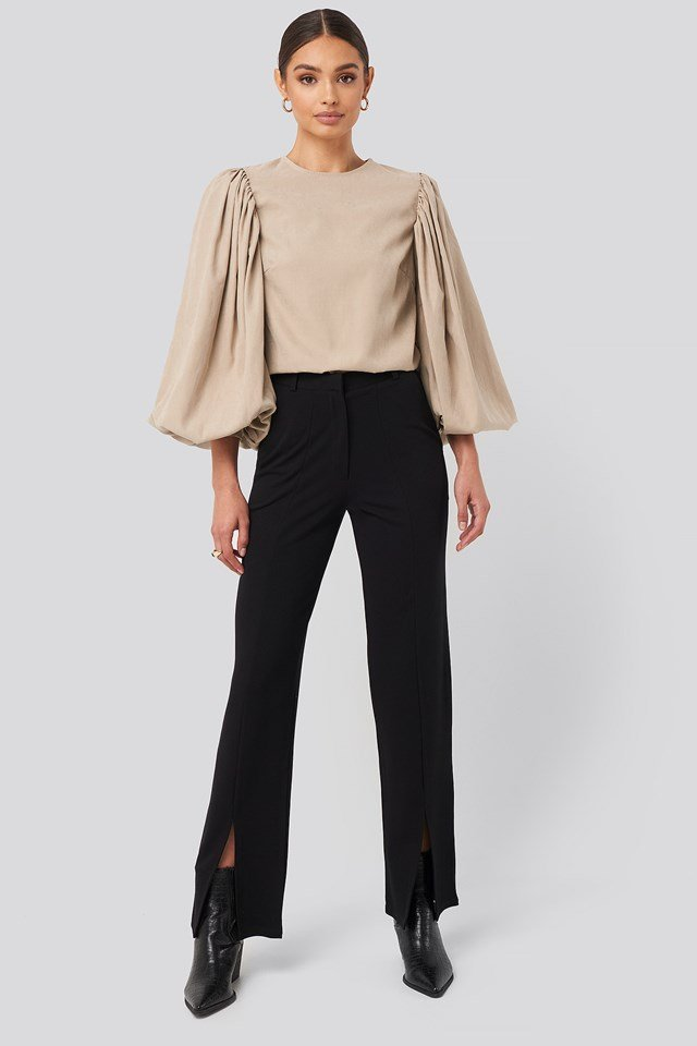 Split Front Seam Pants Deep Black