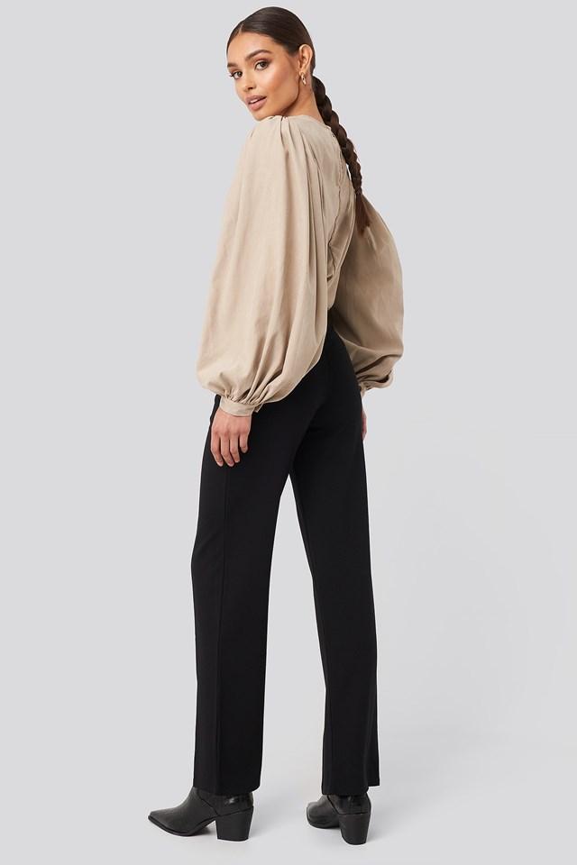 Split Front Seam Pants Deep Black