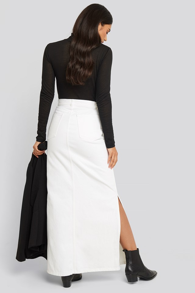 Side Split Maxi Denim Skirt White