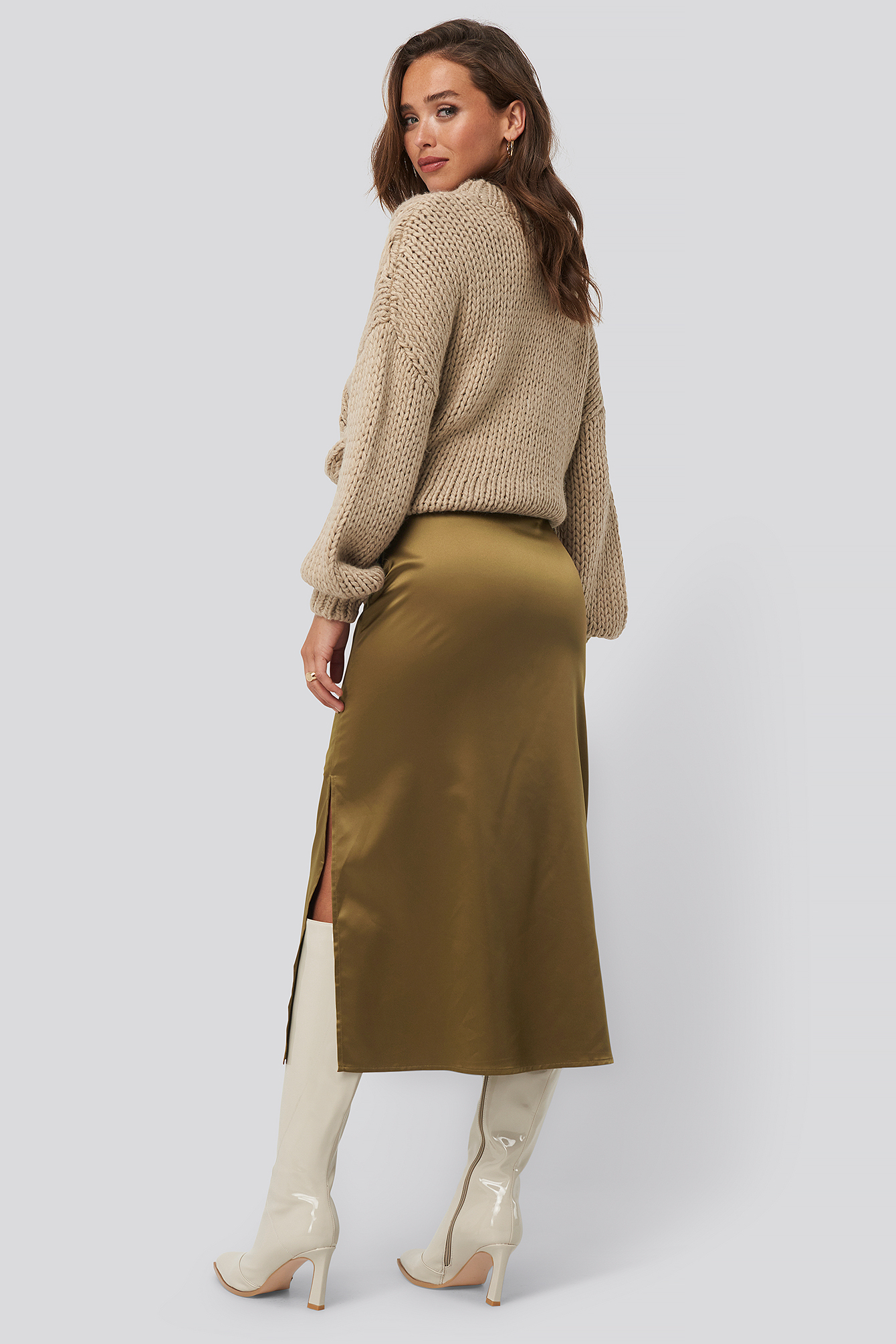 Brown Split Seam Satin Midi Skirt