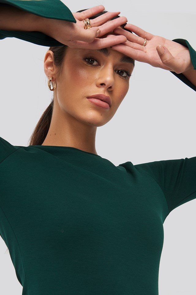 Split Sleeve Jersey Midi Dress Dark Green