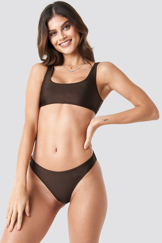 Sporty Bikini Briefs Dark Brown