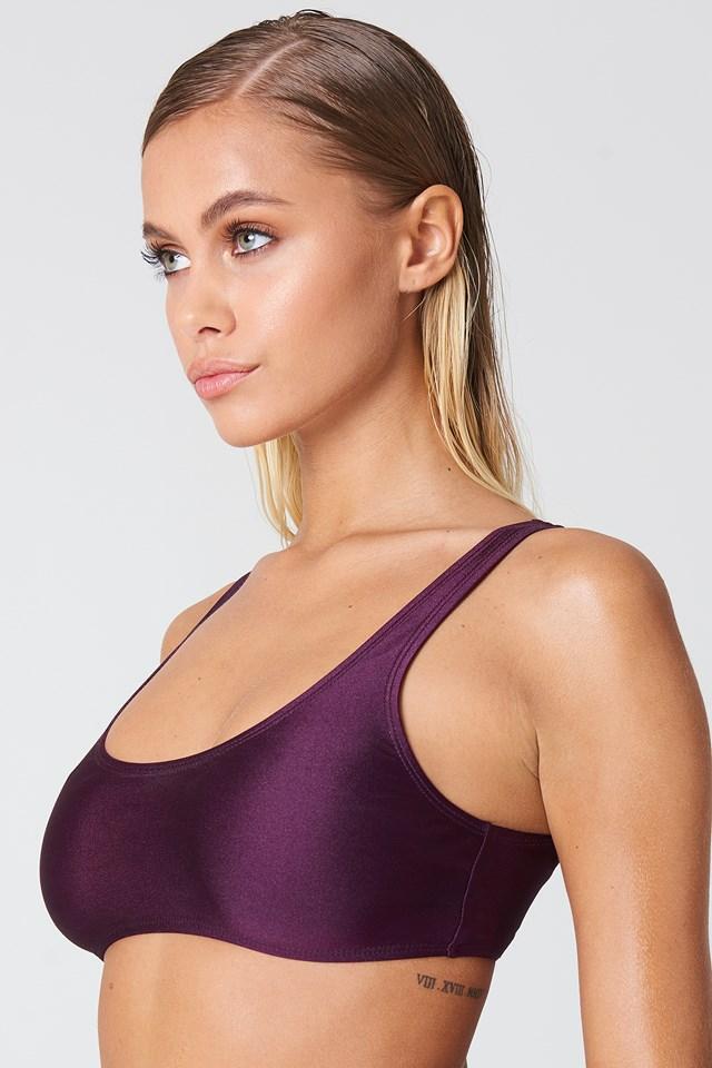 Sporty Bikini Top Dark Purple