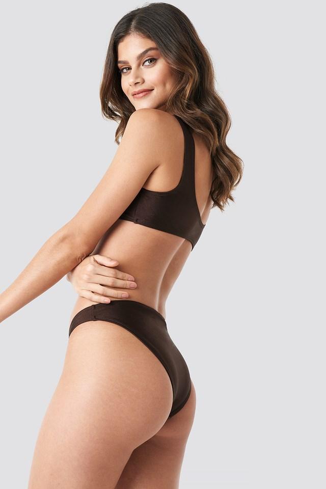 Sporty Bikini Top Dark Brown