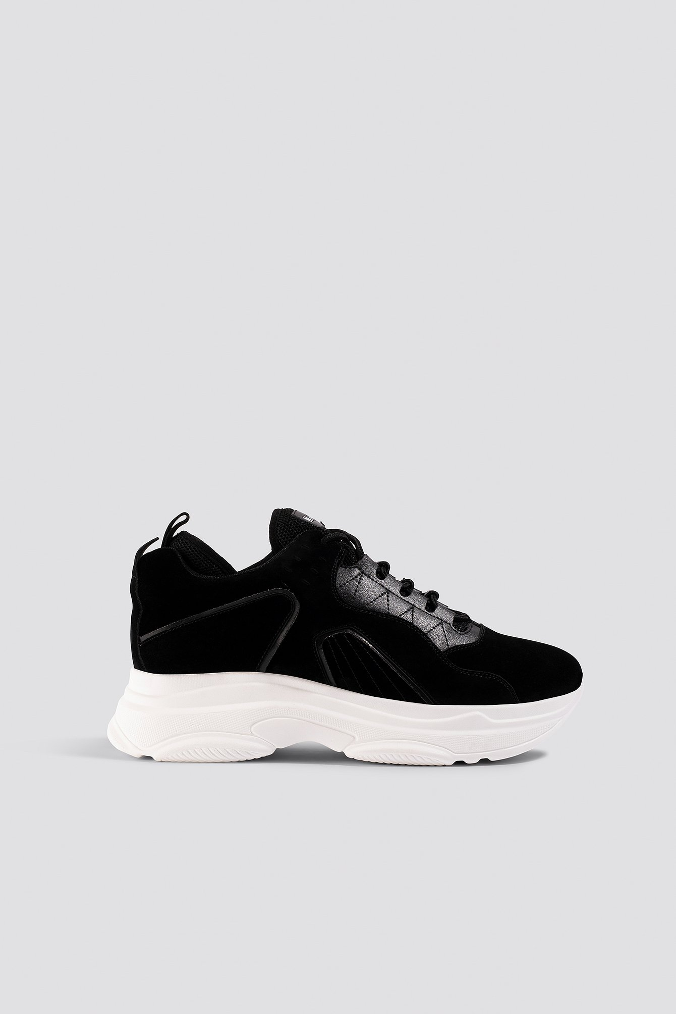 NA-KD Shoes Sporty Faux Suede Sneakers - Black