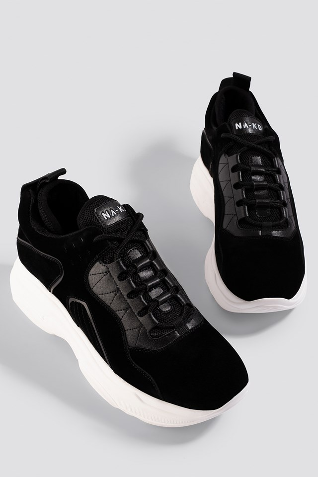 Sporty Faux Suede Sneakers Black