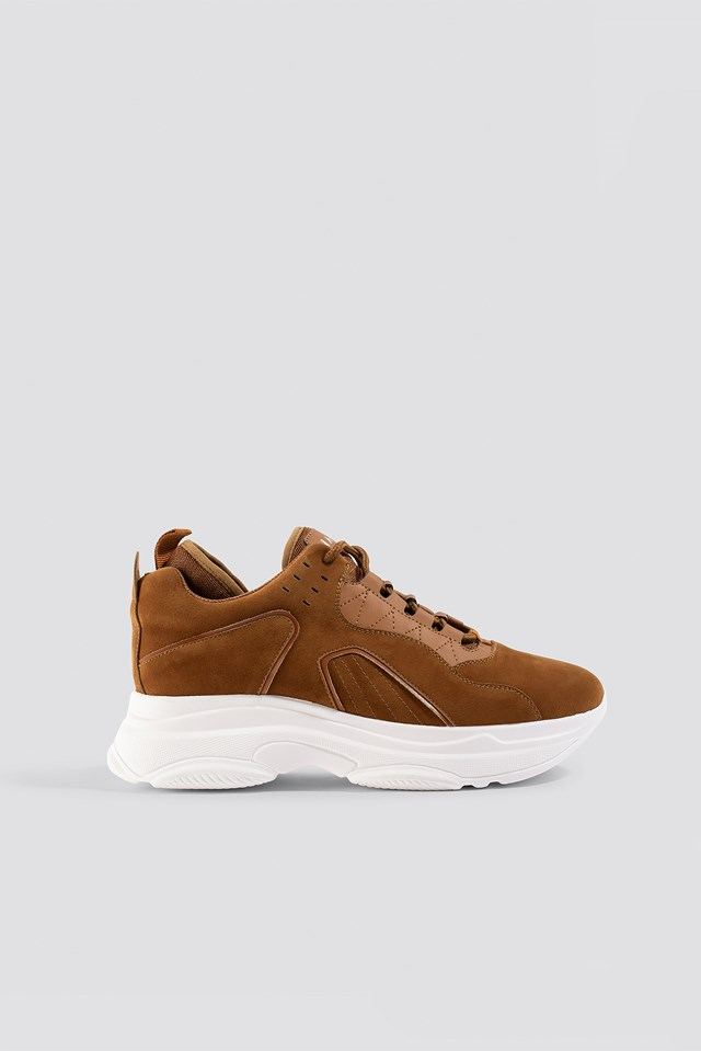 Sporty Faux Suede Sneakers Cognac
