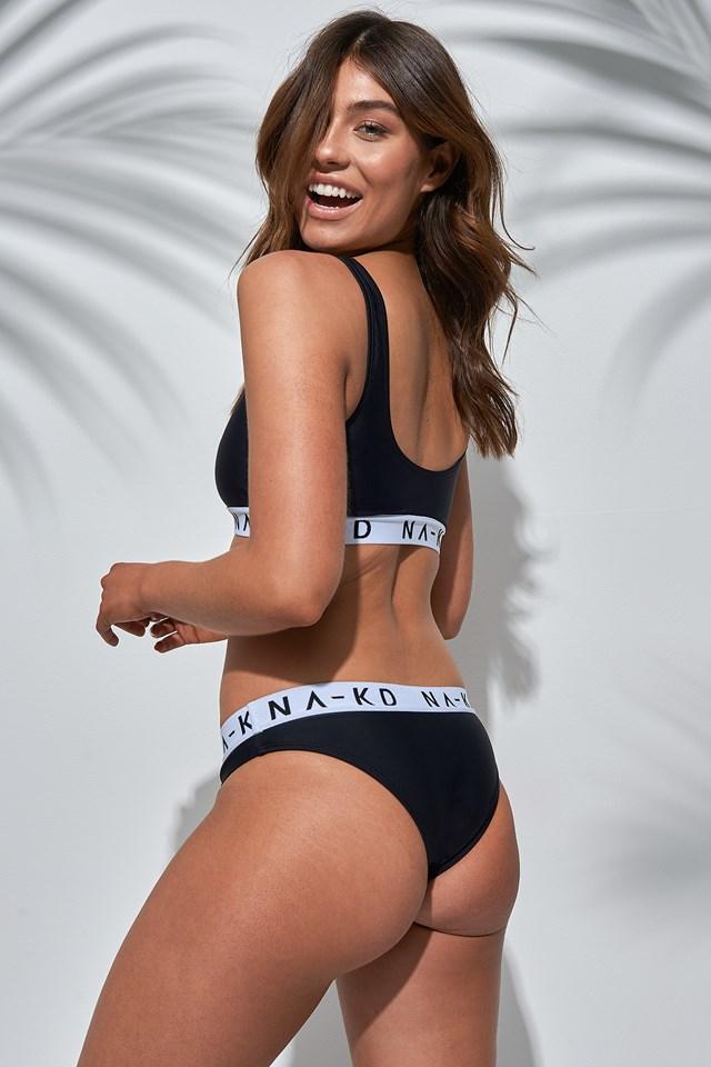 Sporty Logo Bikini Top Black