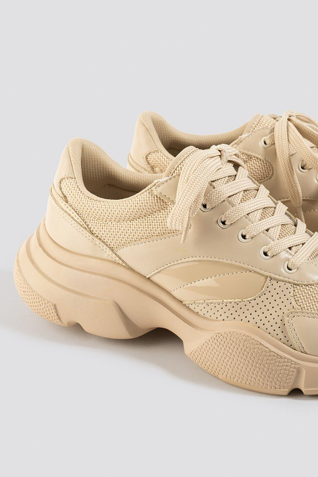 Sporty Mixed Upper Trainers Nude