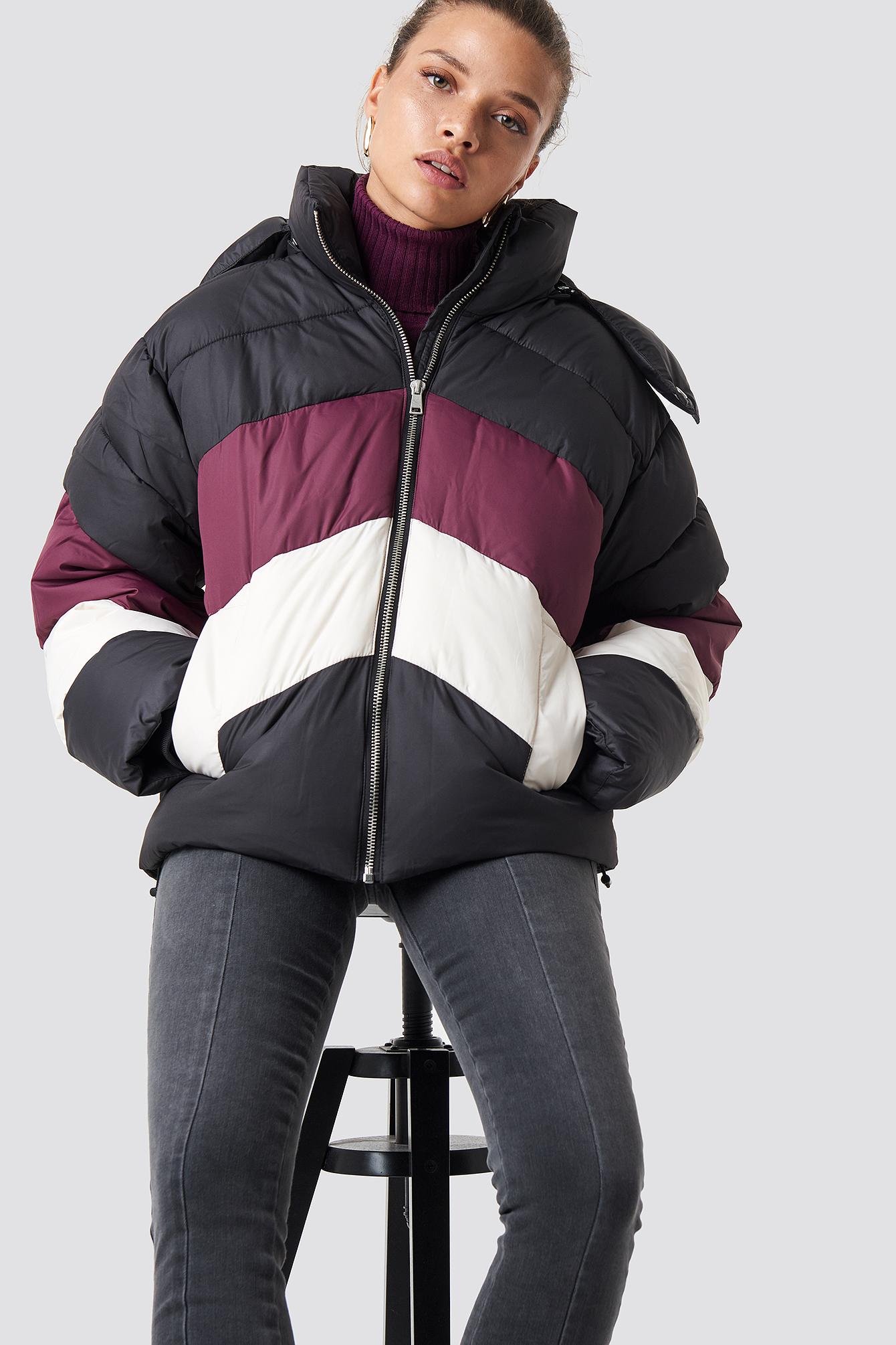 na-kd -  Block Padded Jacket - Black,Multicolor