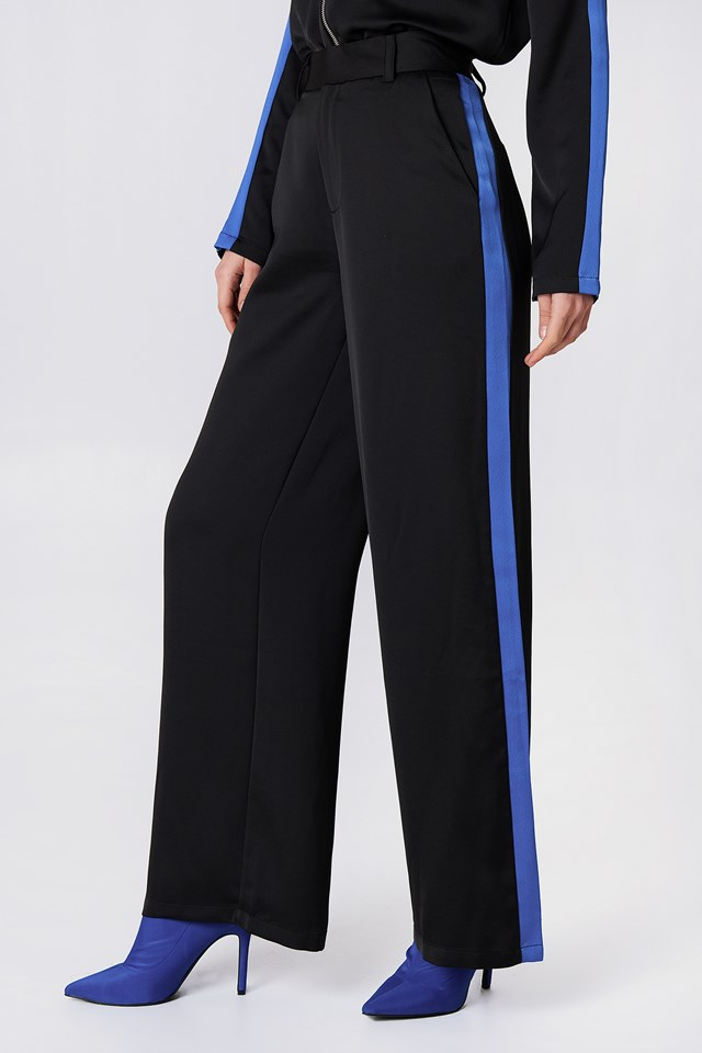 Sporty Striped Wide Pants Black