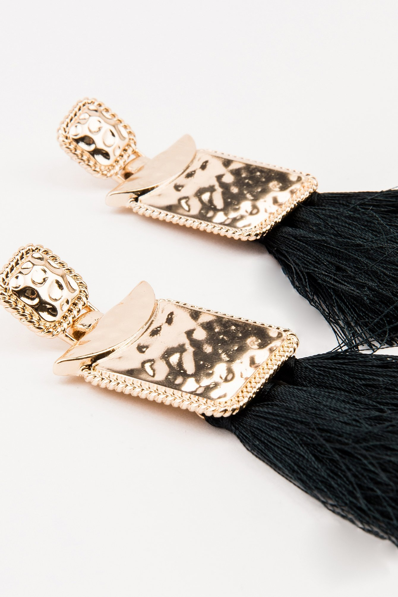 Black Square Block Tassels Earring