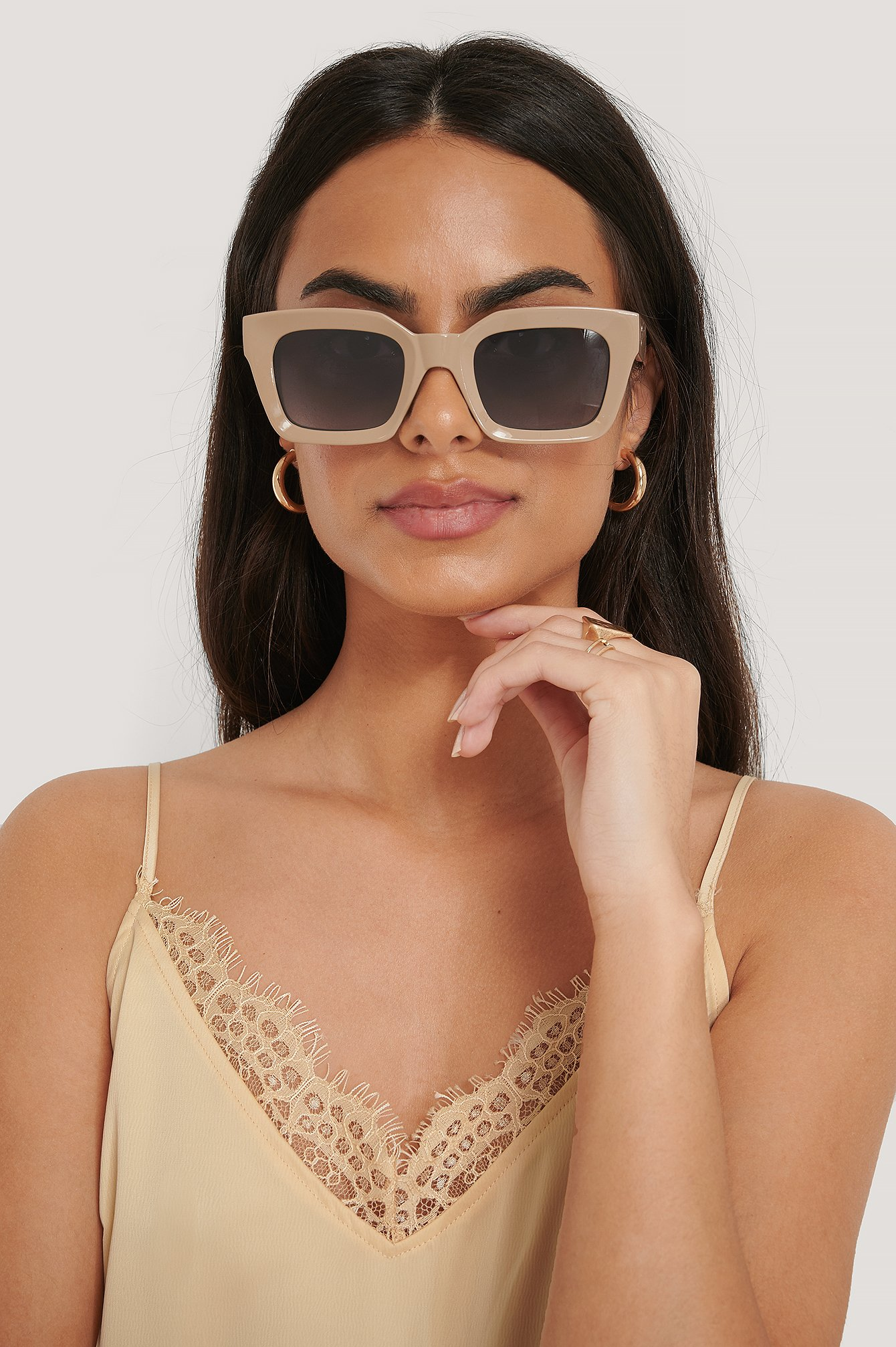 na-kd accessories -  Square Frame Sunglasses - Beige