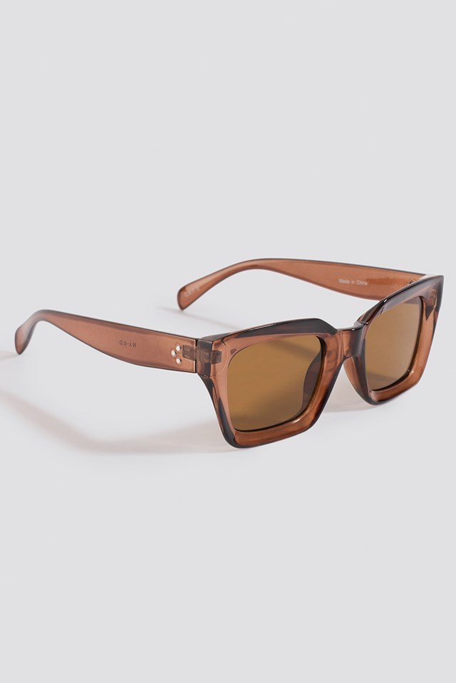 Square Frame Sunglasses Brown